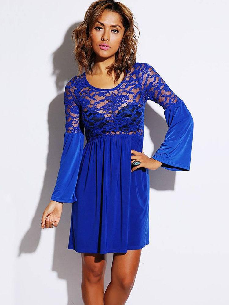 Flare Sleeves Retro Party Skater Mini Dresses Uk Sale
