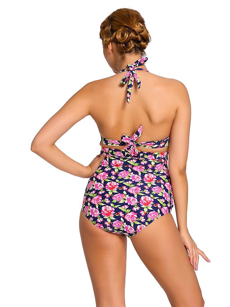 printed retro halter bikini with full coverage high waist bottom. Black Bedroom Furniture Sets. Home Design Ideas