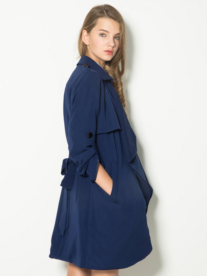 Long Sleeves Wrap Style Waterfall Front Navy Trench Coat