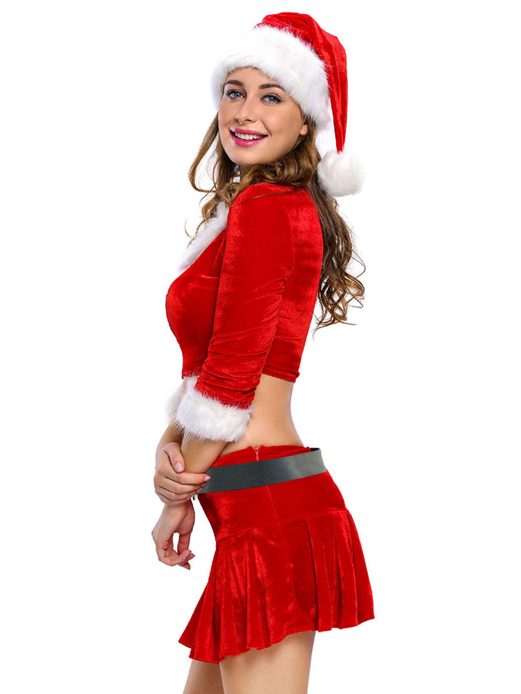 red white four pieces three quarter sleeves xmas costume womens. Black Bedroom Furniture Sets. Home Design Ideas