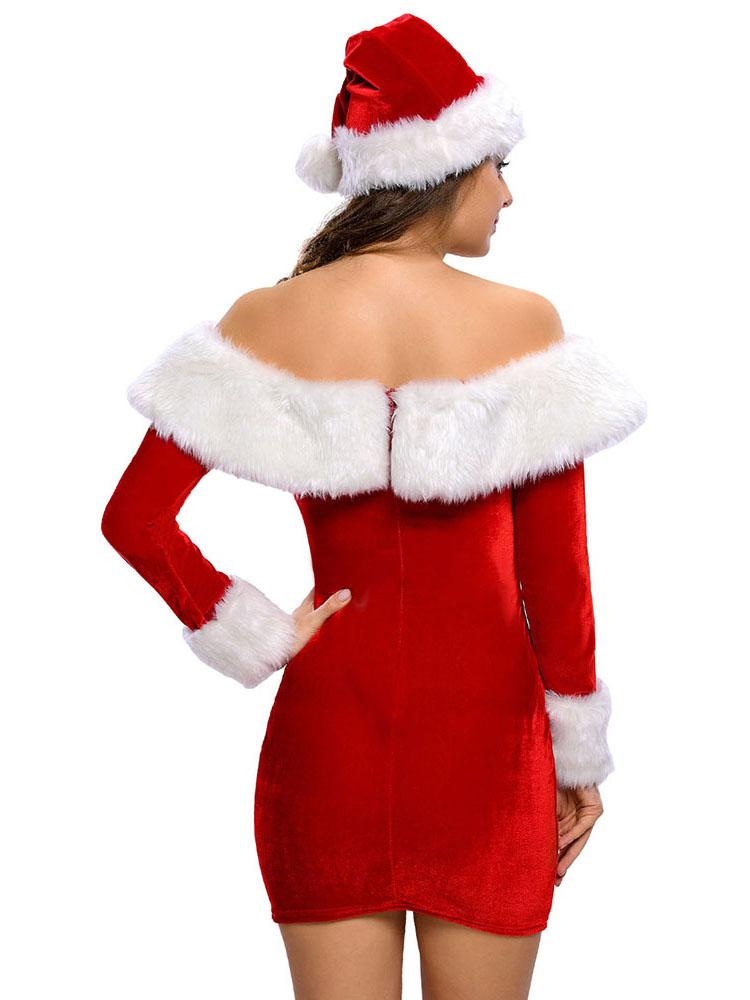 Red White 2 PCS Long Sleeves Cold Shoulder Santa Dress & Hat