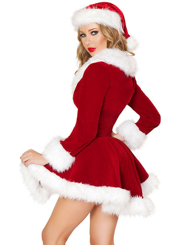 Red White Affordable Two Pieces Velvet Santa Dress Coat ...