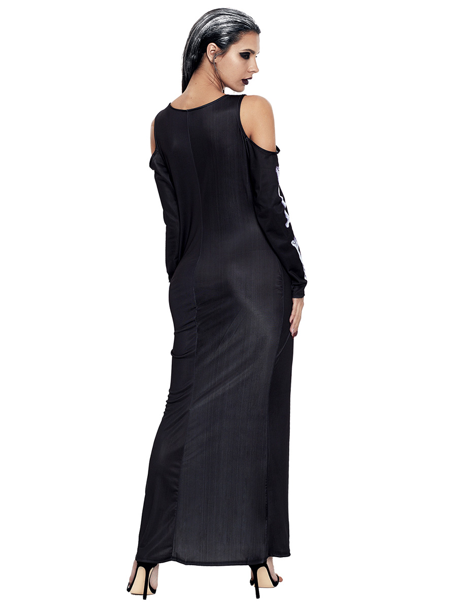 Cold Shoulder Long Sleeves Halloween Maxi Skeleton Dress