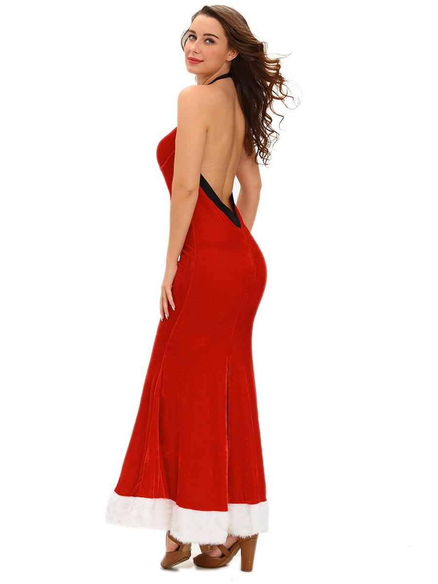 halter sleeveless  backless sexy christmas dresses for women