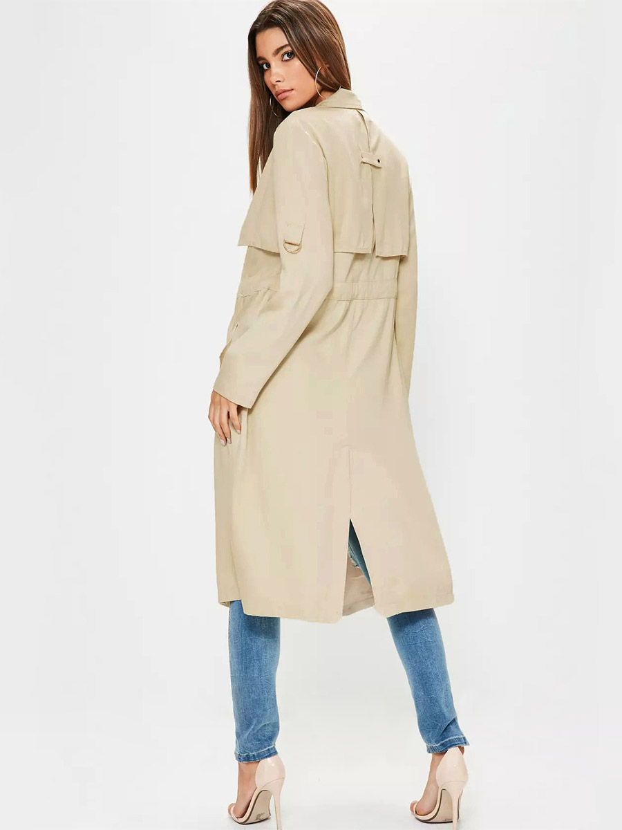 Open-front Wrap Style Long Cheap Trench Coats Womens Beige