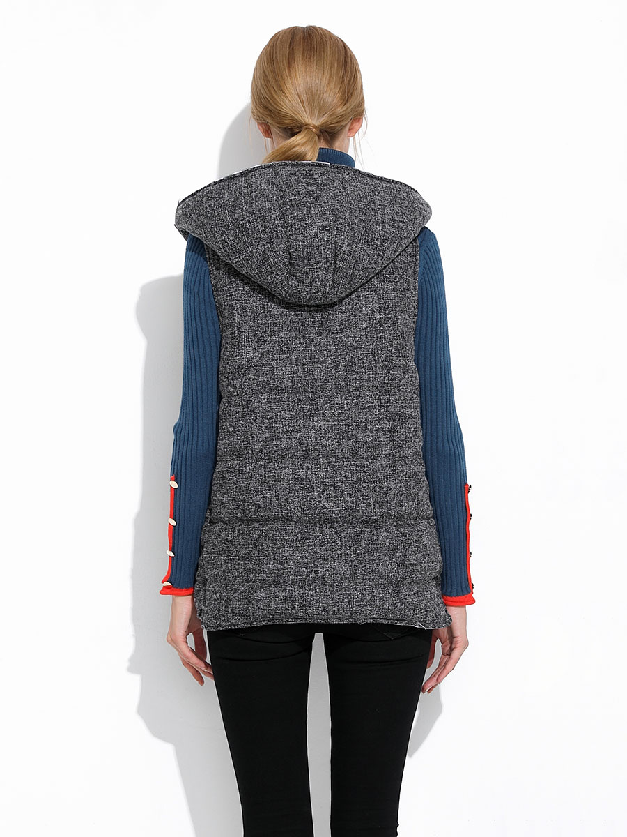 Zipper Thick Quilted Hooded Ladies Winter Vests Coat Grey