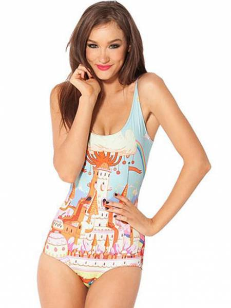 Cute Happy Candy Kingdom Teddy Painting One Piece Swimwear