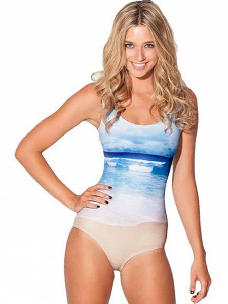 Fresh Ocean Beach Painting 1 Piece Swimsuits