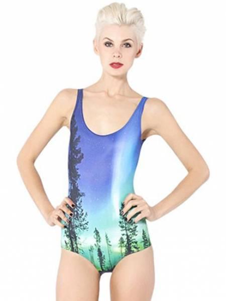 Low Cut Back Aurora Sky Teddy One Piece Swimwear