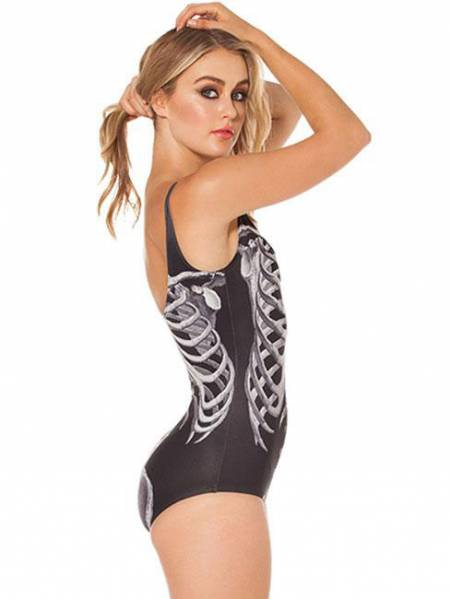 Cool Black Mechanical Ribs Teddy Unique One Piece Swimwear