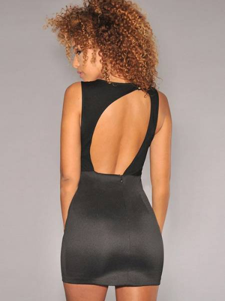 Vilanya Round Neck Mesh Splice Cut Out Back Sleeveless Mini Dress Girl
