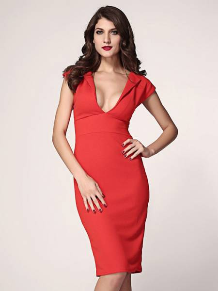 Vilanya Plunging Deep V-neck High Waisted Concealed Zipper Polyester Midi Dress Online