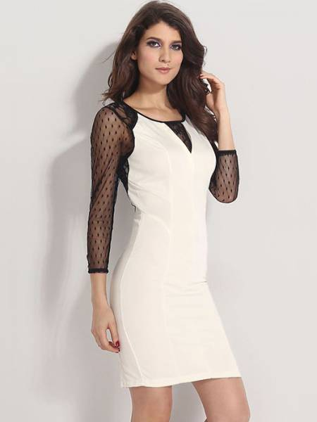 Beige Sheer Three Quarter Mesh Sleeve High-waisted Zipper Back Midi Dresses For Women