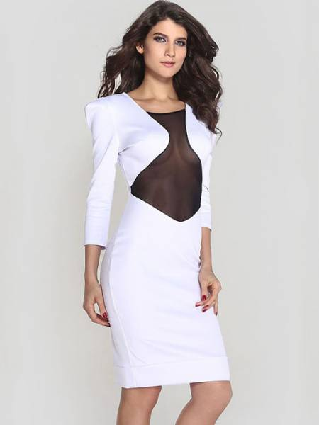 Vilanya White Hollow Out Shrug Mesh Stitching Long Sleeve Womens Midi Dresses