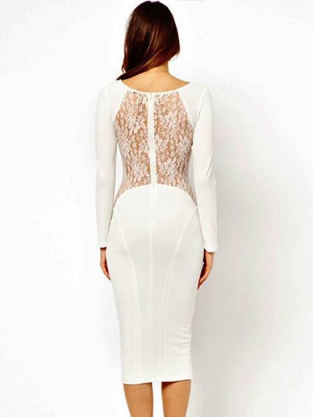 Classic Round Neck Long Sleeve High Waisted Zipper Lace Inset Back Stretchy Midi Dresses