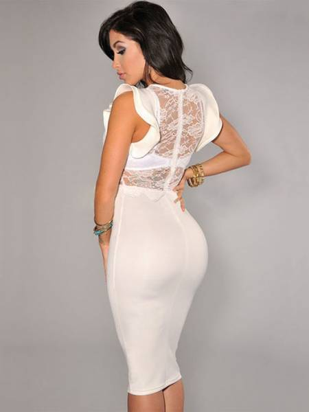 Vilanya Sexy High Waist Sheer Lace Top Ruffles Sleeves Zipper Back Stretchy Midi Dresses