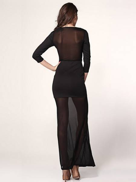 Vilanya High Waist Hollow Out Sheer Mesh Plunging Neckline Unlined Long Black Maxi Dress