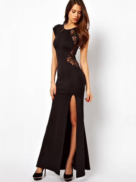 Vilanya Black High Waist Lace Back Fishtail Polyester Thigh-high Split Cap Sleeve Maxi Dress