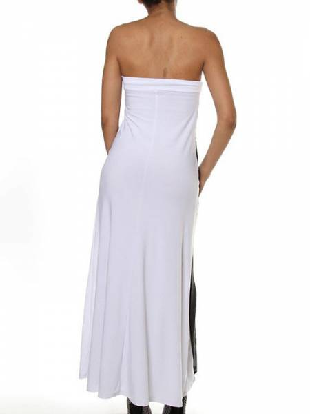High Waisted Lightsome Sheer Mesh Insert Convertible Loose Fitting Lace Strapless Maxi Dresses