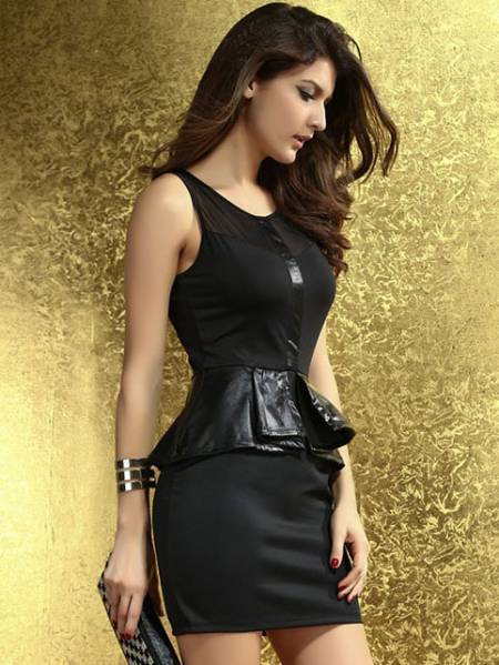Vilanya Sheer Mesh Round Neckline Zipper Back Faux Leather Accent Ruffles Peplum Mini Dresses