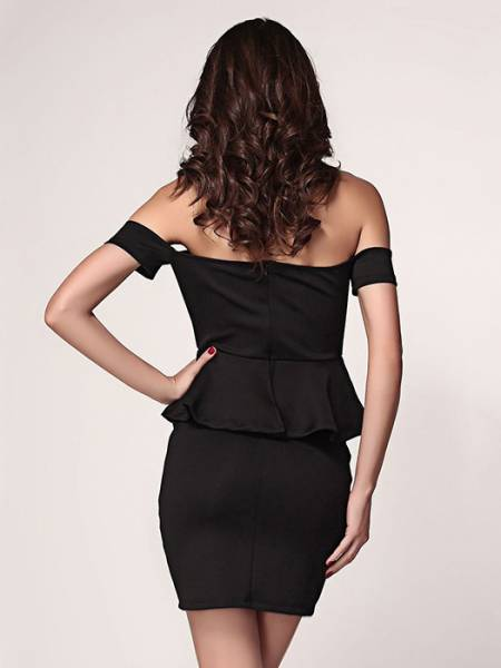 Vilanya Slash Neck High Waisted Off Shoulder Short Sleeve Hollow Out Ruffles Peplum Dresses
