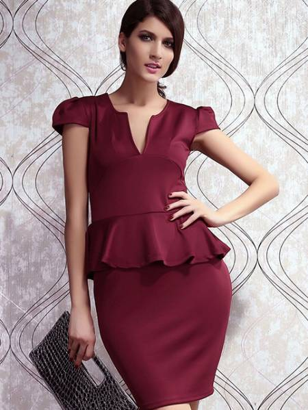 Vilanya Girls High-waisted Plunging V Neck Short Sleeve Ruffles Waistline Peplum Midi Dresses