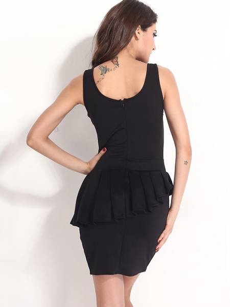 Black High Waist Round Neck Sleeveless Zipper Back Irregular Flounce and Hemline Mini Peplum Dresses