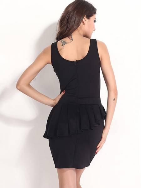 Black High Waist Round Neck Sleeveless Zipper Back Irregular Flounce and Hemline Mini Peplum Dresses