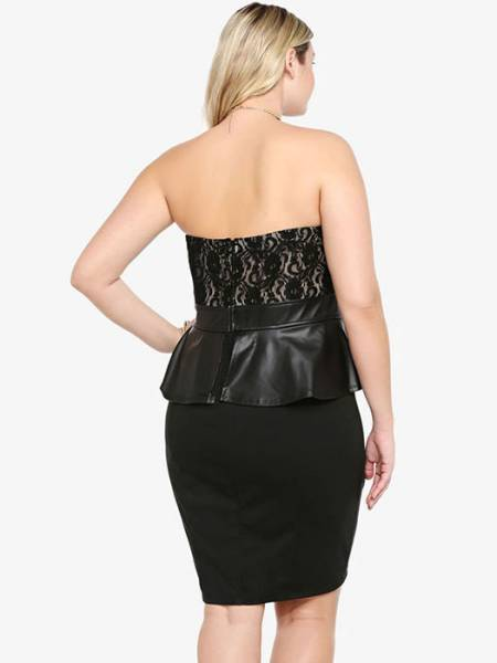 Black Strapless Sheer Floral Lace Top Leatherette Waistline and Peplum Mini Tube Dresses