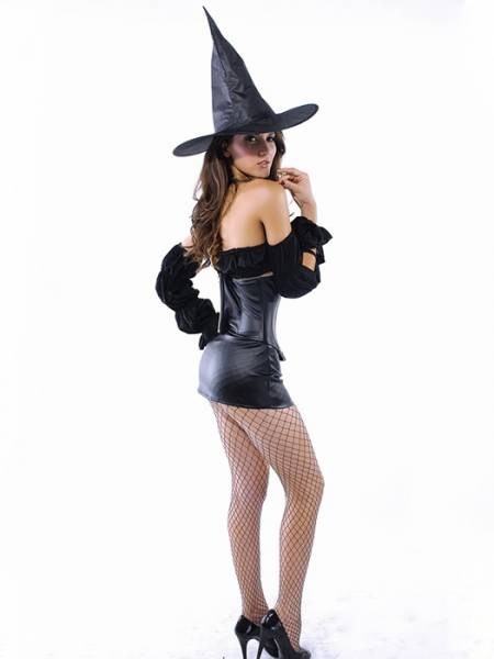 Vilanya Hollow Out Black 5PC Strapless Skinny Slim Witch Good Halloween Costumes For Women