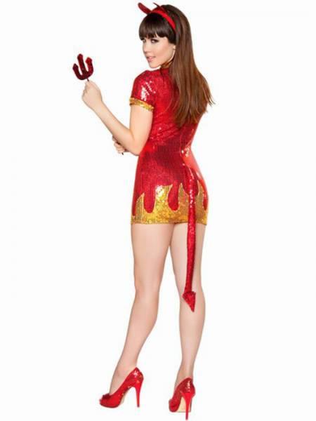 Vilanya 3pcs V-neck Short Sleeve Ruffled Sequin Devil Babe Woman Halloween Costumes