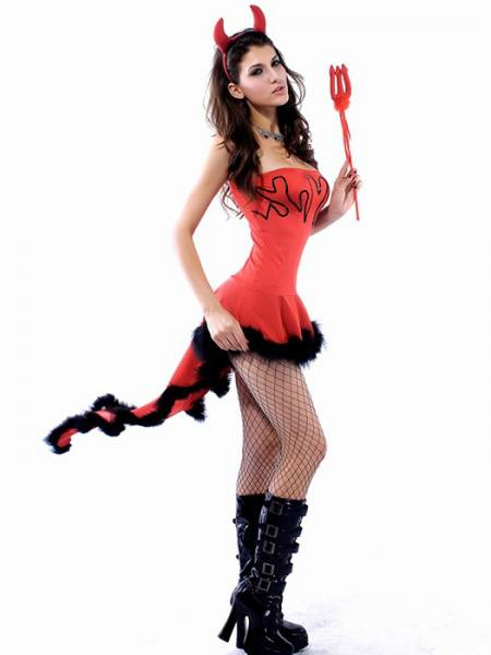 Vilanya Red Strapless 3PC Sleeveless Ruffles Lil Devil Woman Halloween Costume Sets