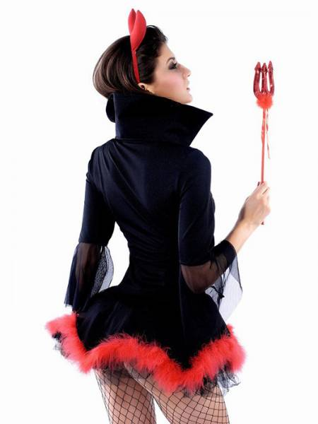 Vilanya 3pcs Marabou Trim Half Sleeved Lacing Front Miss Iblis Adult Female Halloween Costumes