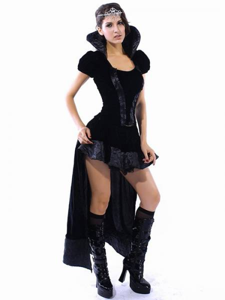 Vilanya Black 2 Pieces Short Sleeved Ruffles Wicked Queen Cheap Women Halloween Costumes