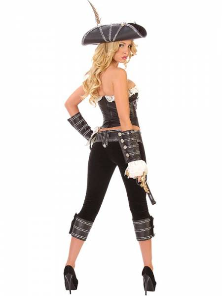 Vilanya Strapless & Sleeveless 5 Pieces Pirate Halloween Costumes For Women