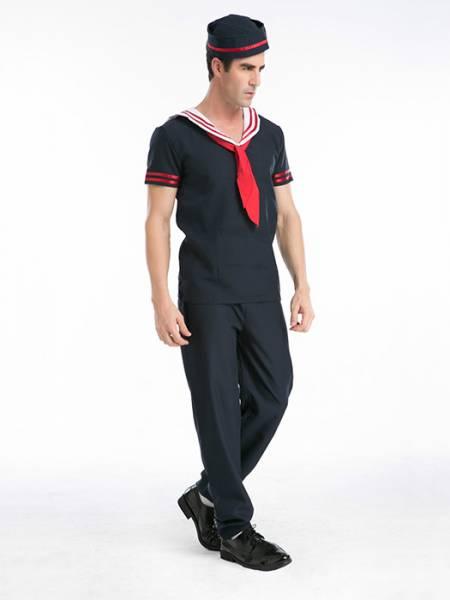 Vilanya Short Sleeve Navy 3 Pieces Captain Sailor Halloween Mens Costumes Online