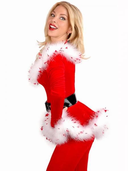 Vilanya Three Pieces Off Shoulder Long Sleeve Punk Santa Outfits for Women