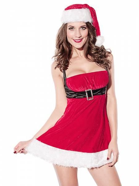2 Pieces Fluff Sleeveless Velvet Christmas Wing Dress for Women Online