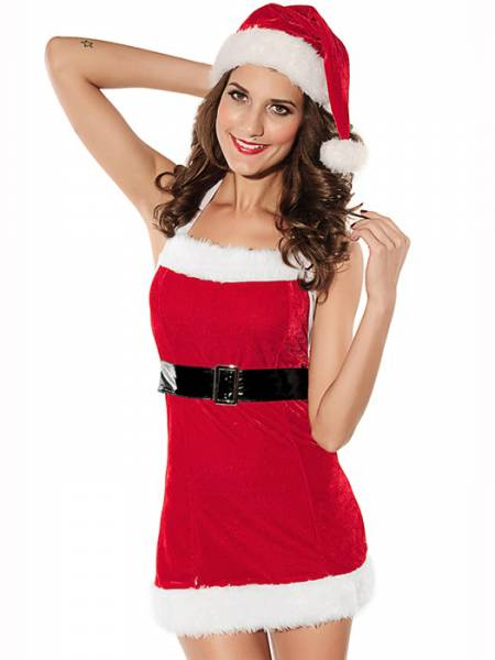 Vilanya 2 Piece Backless Halter Sleeveless Red Christmas Dress with Fluff Trimmed