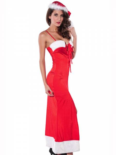 Vilanya 2 Pieces Sleeveless Stretchy Straps Ottoman Lace-up Sexy Santa Dress Female