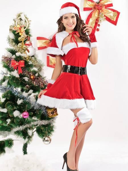 4 Pieces Sleeveless Fluff Velvet Strapless Miss Christmas Suits Sale Online