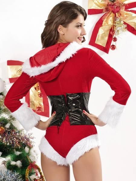 Vilanya 2 Pieces Long Sleeve Fluff Velvet Hooded Romper Female Santa Outfits Online