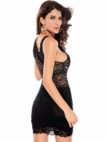 Trendy Sleeveless High Waist V-neck Sexy Purple / Black Embroidery Lace Mini Bodycon Dress