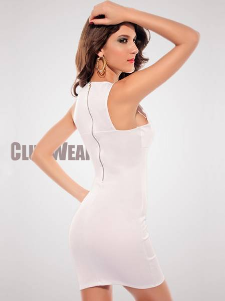 Vilanya Sleeveless Cutout Chest Crew Neck OL Fashion Mini Bodycon Dresses