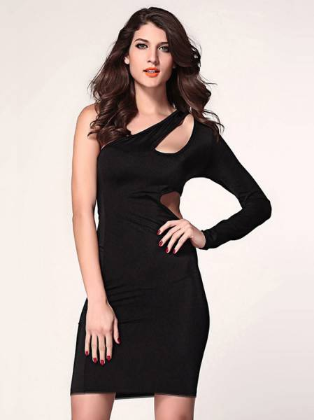 Cheap Unique Sexy High Waisted Hollow Out One Long Sleeve Midi Bodycon Dress for Women