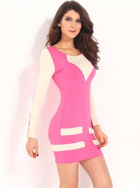 Ladies Contrast Color Long Sleeve High Waist Flattering Mini Casual Bodycon Dresses