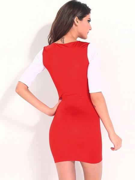 Lady V-neck Empire Half Sleeved Stylish Multicolor Block Tight Mini Bodycon Dresses