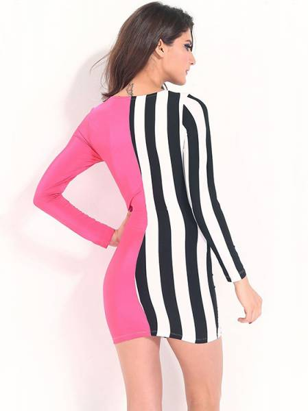 Cheap Contrast Color Round Neckline Long Sleeve High Waist Striped Bodycon Dress Mini