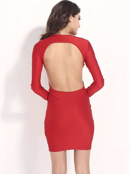 Cheap Sexy Hollow Out Backless Long Sleeve High Waist Midi Bodycon Dress for Women