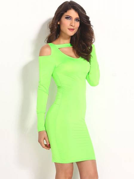 77972d820c6f ... Ladies Green Long Sleeves High Waisted Cut Out Cold Shoulder Midi Dress  Bodycon Sale ...